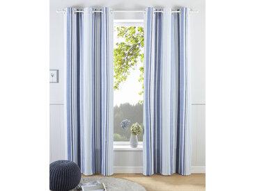 my home Gardine Stripe, Nachhaltig 225 cm, Ösen, 110 cm blau Blickdichte Vorhänge Gardinen