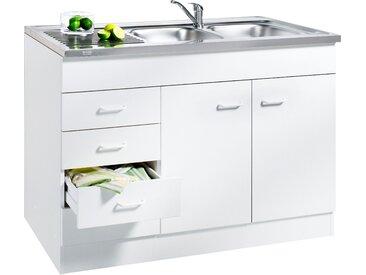 HELD MÖBEL Spülenschrank Elster, Breite 120 cm B/H/T: x 85 60 cm, 2 beige Spülenschränke Küchenschränke Küchenmöbel