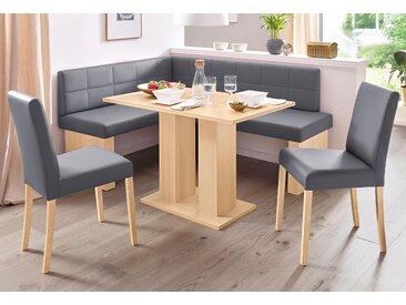 SCHÖSSWENDER Eckbankgruppe Anna, (Set, 4 tlg.), mit 2 Stühlen massiven Gestell Kunstleder, Langer Schenkel rechts (130/169 cm) beige Eckbankgruppen Tische