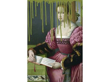 queence Acrylglasbild Frau mit Buch 100x150 cm grün Acrylglasbilder Bilder Bilderrahmen Wohnaccessoires