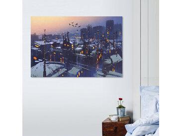 queence Leinwandbild Stadt bei Nacht 120x80 cm orange Leinwandbilder Bilder Bilderrahmen Wohnaccessoires