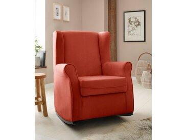 Home affaire Schaukelstuhl Warin, mit schönem Luxus-Microfaser Bezug und Holzbeinen, Sitzhöhe 48 cm B/H/T: 76 x 100 74 cm, orange Schaukelstühle Stühle Sitzbänke