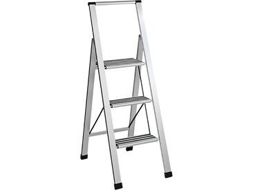Trittleiter, extra leicht ca. 133/44/65 cm, 3 Stufen silberfarben Leitern Werkzeug Maschinen Haushaltshelfer