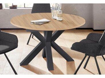 Esstisch Tischplatte: Holzwerkstoff, Gestell: MDF, Mittelauszug mit Einlegeplatte beige Ausziehbare Esstische Tische Tisch