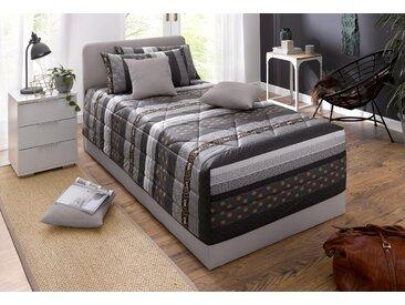 Westfalia Schlafkomfort Polsterbett Microfaser, 100x200 cm Höhe Bettseite: 34 cm, Bonnell-Federkernmatratze, H2 grau Einzelbetten Betten