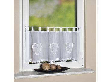 HOME WOHNIDEEN Scheibengardine CORAZON, Cafehaus Batist, bestickt 30 cm, Schlaufen, 90 cm weiß Home Wohnideen