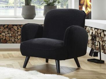 ATLANTIC home collection Sessel, mit Wellenunterfederung Fellimitat, B/H/T: 88 cm x 84 86 schwarz Lesesessel Sessel