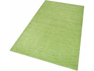 Theko Exklusiv Wollteppich Gabbeh uni, rechteckig, 15 mm Höhe, Wohnzimmer 1, 60x90 cm, grün Schlafzimmerteppiche Teppiche nach Räumen