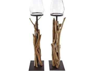 Bodenwindlicht mit dekorativem Altholz Einheitsgröße braun Kerzenhalter Kerzen Laternen Wohnaccessoires