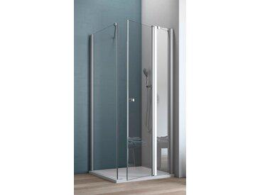 maw Eckdusche AF200, mit Drehtür nur rechts montierbar ohne Antikalk-Versiegelung silberfarben Duschkabinen Duschen Bad Sanitär
