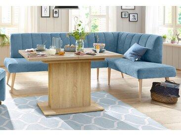 exxpo - sofa fashion Eckbank Costa, Frei im Raum stellbar B/H/T: 157 cm x 92 245 cm, Struktur, Ottomane rechts, langer Schenkel links blau Sitzbänke Nachhaltige Möbel