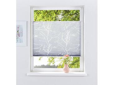 my home Plissee ANNA, Lichtschutz, ohne Bohren, verspannt, Ausbrenner 130 cm, zweiseitig verschiebbar, 60 cm grau Plissees Bohren Rollos Jalousien