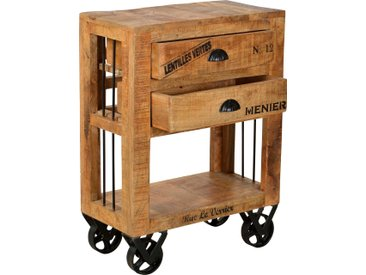 SIT Küchenwagen Rustic, mit schwarzen Schriftzügen, Shabby Chic, Vintage B/H/T: 60 cm x 80 30 beige Küchenaccessoires Wohnaccessoires