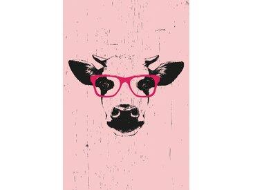 queence Leinwandbild Kuh mit Brille