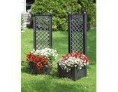 KHW Spalier, mit Pflanzkasten, BxTxH: 43x43x140 cm B/H/T: 86 x 140 43 grau Spalier Spaliere Gartendekoration Gartenmöbel Gartendeko