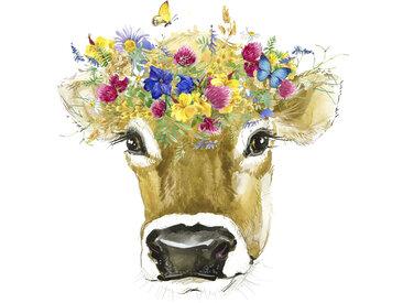 queence Leinwandbild Kuh 80x120 cm bunt Leinwandbilder Bilder Bilderrahmen Wohnaccessoires