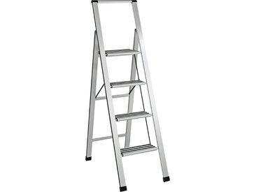 Trittleiter, extra leicht ca. 148/44/80 cm, 4 Stufen silberfarben Putzhelfer Reinigung Haushaltswaren Haushaltshelfer