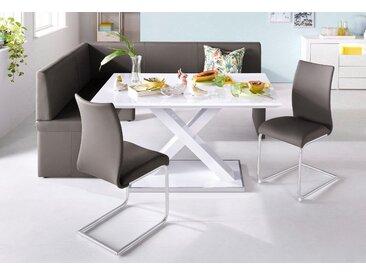 Homexperts Eckbankgruppe (Set, 4-tlg) langer Schenkel rechts braun Eckbankgruppen Tische Sitzmöbel-Sets