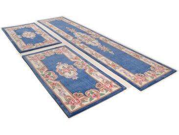 THEKO Bettumrandung Ming, Bettvorleger, Läufer-Set für das Schlafzimmer, hochwertiges Acrylgarn, florales Design B/L (Brücke): 70 cm x 140 (2 St.) (Läufer): 320 (1 St.), U-förmig blau Bettumrandungen Läufer Teppiche