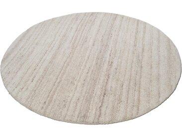 THEKO Wollteppich Royal Berber Uni, rund, 18 mm Höhe, reine Schurwolle, Wohnzimmer Ø 150 cm, 1 St. beige Esszimmerteppiche Teppiche nach Räumen