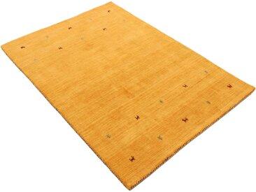 Wollteppich, Gabbeh Uni, carpetfine, rechteckig, Höhe 15 mm, handgewebt 60x90 cm, mm gelb Gewebte Teppiche Orientteppich