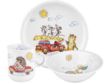 Seltmann Weiden Kindergeschirr-Set Compact Flinker FLitzer (3-tlg.), Porzellan Einheitsgröße bunt Kinder Kindergeschirr Geschirr, Tischaccessoires Haushaltswaren Geschirr-Sets