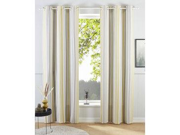 my home Gardine Stripe, Nachhaltig 145 cm, Ösen, 110 cm grau Blickdichte Vorhänge Gardinen
