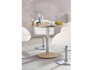 MCA furniture Glastisch Falko 0, Tischplatte: Sicherheitsglas, Gestell: Chrom, 100x100 cm braun Säulentische Esstische Tische Tisch