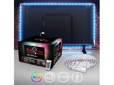 B.K.Licht LED-Streifen, LED TV Hintergrundbeleuchtung Backlight 2m USB RGB selbstklebend 36 St., 0,58 m weiß LED-Lampen LED-Leuchten SOFORT LIEFERBARE Lampen Leuchten LED-Streifen