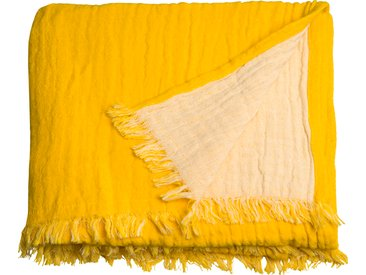 TOM TAILOR Plaid Fringed Cotton, mit Fransen B/L: 130 cm x 170 gelb Baumwolldecken Decken