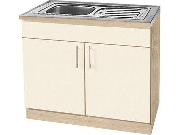 wiho Küchen Spülenschrank Kiel, 100 cm breit B/H/T: x 85 60 cm, 2 gelb Spülenschränke Küchenschränke Küchenmöbel