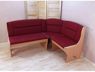 Eckbank Madrid, Schenkel wechselbar B/H/T: 125 cm x 86 165 cm, Struktur rot Sitzbänke Nachhaltige Möbel