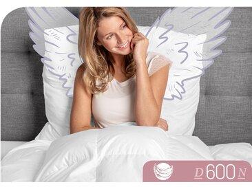 Gänsedaunenbettdecke, D600, Schlafstil, Füllung: 100% Gänsedaune, Bezug: Baumwolle weiß, 200x220 cm weiß Daunendecke Bettdecken Bettdecken, Kopfkissen Unterbetten Bettdecke