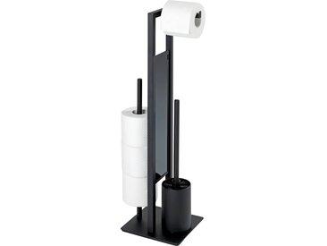 WENKO WC-Garnitur Rivalta, integrierter Toilettenpapierhalter und WC-Bürstenhalter L/B/H: 23/18/70 cm schwarz WC-Zubehör Badaccessoires Badmöbel