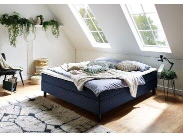 ATLANTIC home collection Boxbett Struktur, 180x200 cm, 7-Zonen-Taschen-Federkernmatratze, H3, Ohne Bettwäsche-Set blau Einzelbetten Betten Komplettbetten