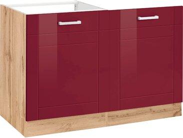 HELD MÖBEL Spülenschrank Tinnum, 120 cm breit, MDF-Fronten, Metallgriffe, inklusive Einbauspüle aus Edelstahl, Tür für vollintegrierbaren Einbaugeschirrspüler x 82 60 (B H T) rot Spülenschränke Küchenschränke Küchenmöbel Schränke