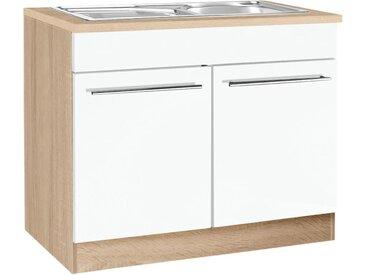 HELD MÖBEL Spülenschrank Eton, Breite 100 cm x 85 60 (B H T) cm, 2-türig weiß Spülenschränke Küchenschränke Küchenmöbel Schränke