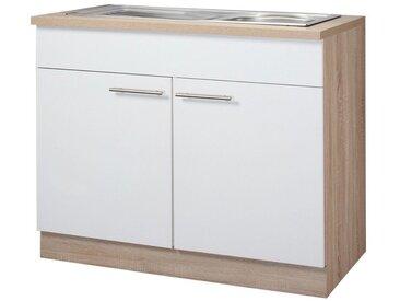 wiho Küchen Spülenschrank Montana 100 x 85 60 (B H T) cm, 2-türig weiß Spülenschränke Küchenschränke Küchenmöbel Schränke