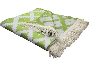 Wohndecke Maroccan Shiraz, Adam 145x190 cm, Baumwolle grün Baumwolldecken Decken Wohndecken