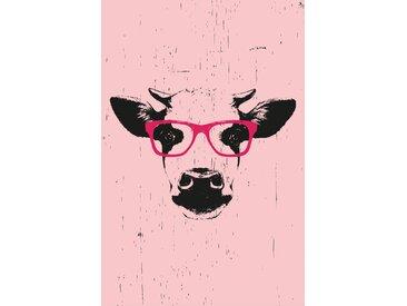 queence Leinwandbild Kuh mit Brille 40x60 cm rosa Leinwandbilder Bilder Bilderrahmen Wohnaccessoires