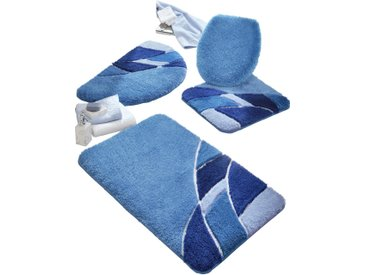 Badezimmer-Garnitur 6 (Deckelbezug) blau Gemusterte Badematten Badgarnituren
