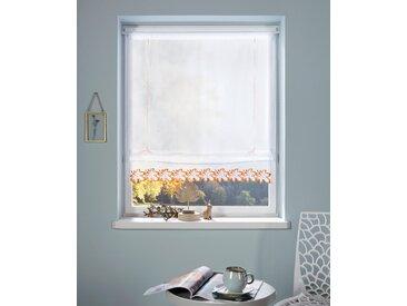 Bändchenrollo Blatt, my home, mit Stangendurchzug 6, H/B: 140/100 cm, transparent, weiß Raffrollos transparent Raffrollo Gardinen Vorhänge