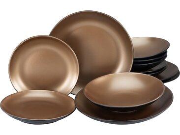 Leonique Tafelservice Oralie, (Set, 12 tlg.), metallische Farben Einheitsgröße schwarz Geschirr-Sets Geschirr, Porzellan Tischaccessoires Haushaltswaren