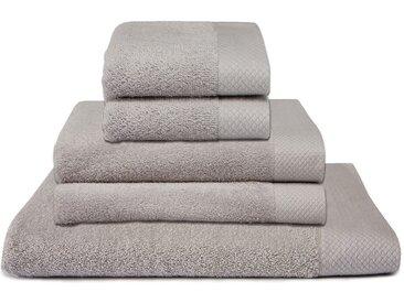 Seahorse Handtuch Set Pure, mit Strukturbordüre 5tlg.-Set grau Handtuch-Sets Handtücher Badetücher Handtuchset