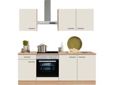 OPTIFIT Küchenzeile Odense, mit E-Geräten, Breite 210 cm, 28 mm starker Arbeitsplatte, Gratis Besteckeinsatz EEK D Einheitsgröße beige Küchenzeilen Geräten -blöcke Küchenmöbel Arbeitsmöbel-Sets
