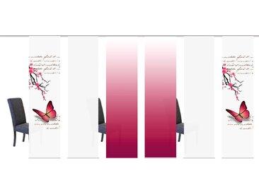 Schiebegardine, BUTTERFLIES, HOME WOHNIDEEN, Klettband 6 Stück 1, H/B: 245/60 cm, blickdicht, rosa Blickdichte Vorhänge Gardinen Gardine