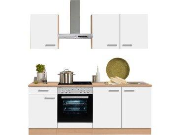 OPTIFIT Küchenzeile Odense, mit E-Geräten, Breite 210 cm, 28 mm starker Arbeitsplatte, Gratis Besteckeinsatz EEK D Einheitsgröße weiß Küchenzeilen Geräten -blöcke Küchenmöbel Arbeitsmöbel-Sets