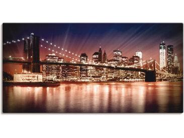 Artland Wandbild Manhattan Sonnenuntergang, Brücken, (1 St.) 150x75 cm, Leinwandbild lila Bilder Bilderrahmen Wohnaccessoires