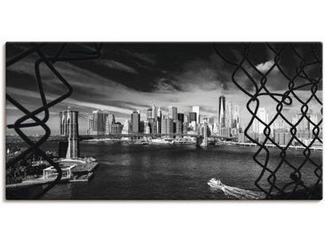Artland Wandbild Brooklyn Bridge New York I, Amerika, (1 St.) 150x75 cm, Leinwandbild schwarz Bilder Bilderrahmen Wohnaccessoires