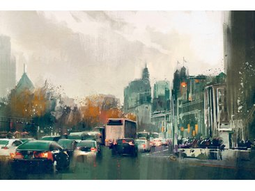 queence Leinwandbild Straßenverkehr 120x80 cm bunt Leinwandbilder Bilder Bilderrahmen Wohnaccessoires